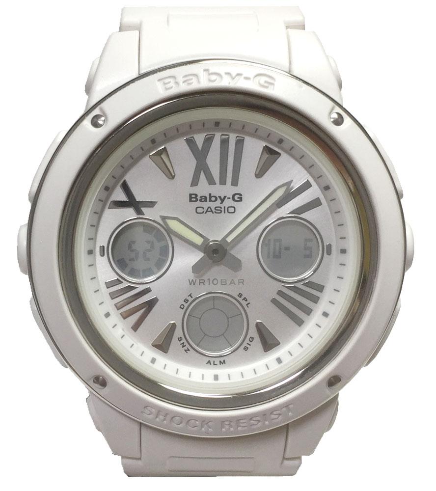 カシオ 腕時計 Baby-G アナデジ ホワイト 時計 白 CASIO ベビージー ビッグフェイス キッズ レディース 5257 美品 クォーツ 【中古】