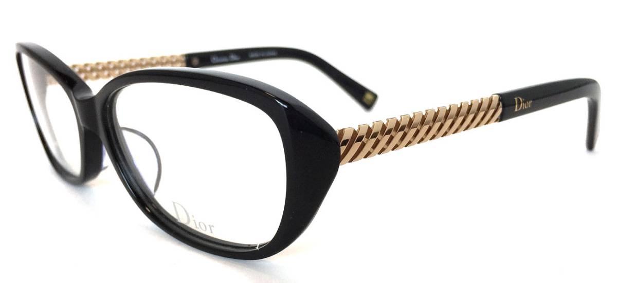未使用 クリスチャンディオール メガネ レディース メガネフレーム めがね 眼鏡 フレーム ブラック 黒 ゴールド Dior DC7079J めがねフレーム 眼鏡フレーム CD 【中古】