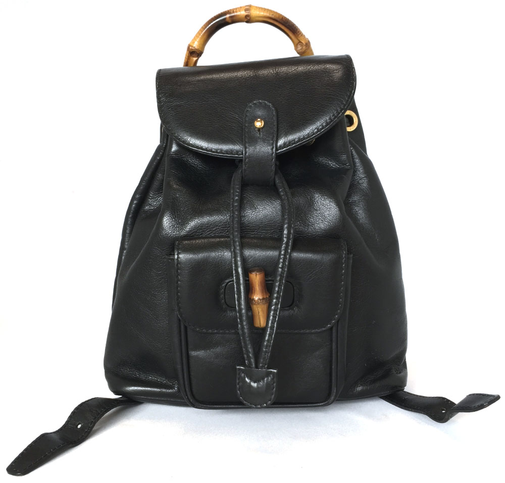 35aa1c50 Gucci bamboo rucksack leather black black rucksack backpack Lady's GUCCI  oar leather 003.1998.0030 is small