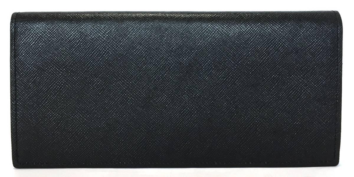 未使用 ポールスミス 長財布 ブラック 黒 レザー 型押し メンズ 財布 Paul Smith 二つ折り財布 二つ折り長財布 紳士 【中古】