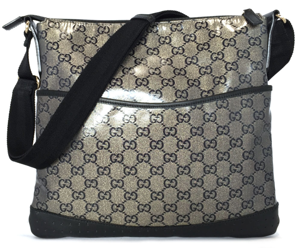 7e9a763bf5de Take Gucci shoulder bag GG slant, and take crystal GG black black men gap  Dis ...
