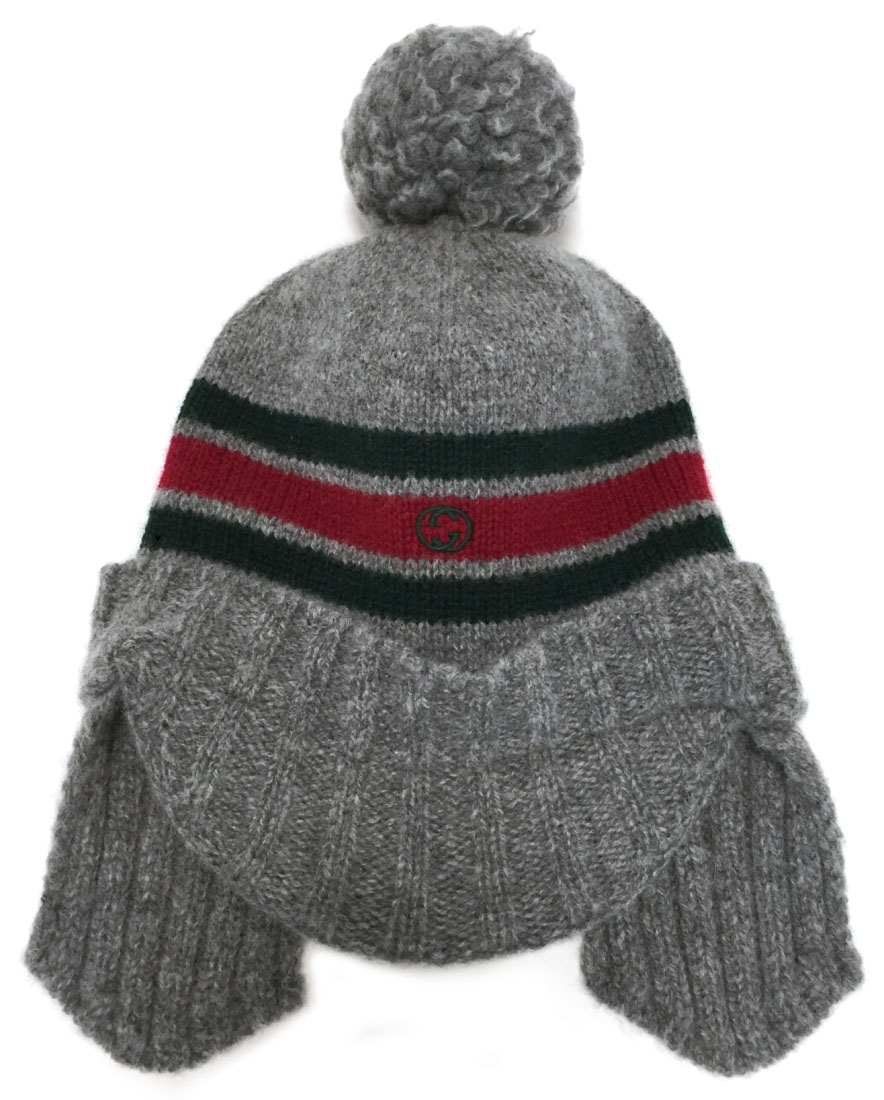 Knit hat knit 269511 GUCCI gray sherry ear expectation bonbon for the  like-new Gucci knit cap kids hat child belonging to 08e17353e4c