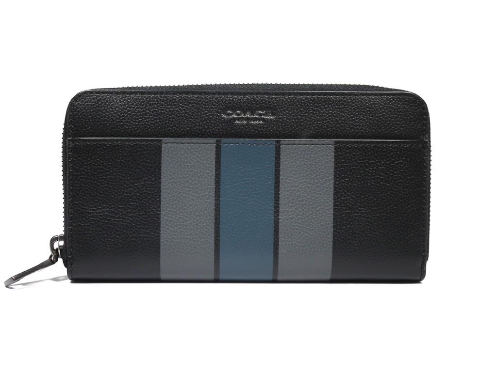 未使用 コーチ ラウンドファスナー 長財布 ジップアラウンド F58109 ストライプ レザー ブラック COACH ジッピー