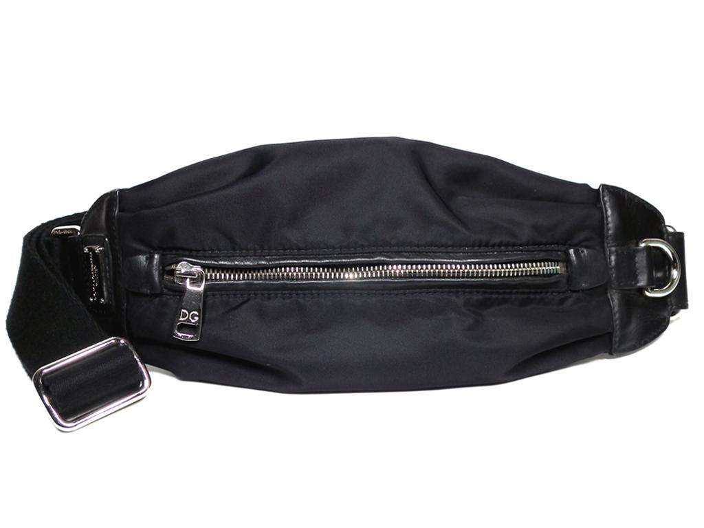 3ef9718cb006 Dolce   Gabbana body bag bum-bag logo plate black black DG ドルガバ D   G-mans  crossbody waist porch nylon