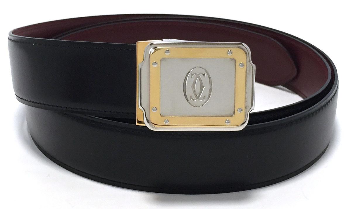未使用 カルティエ ベルト サントス 2C ブラック 黒 レザー C2 メンズ 本革 紳士用 Cartier 110cm ボルドー CARTIER 【中古】