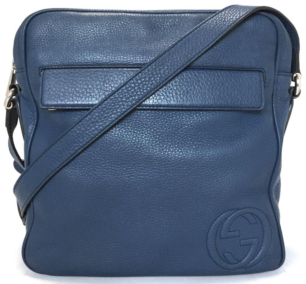 60f0cfa2853e16 Take Gucci shoulder bag men GG interlocking grip G leather messenger blue  37084 beauty product GUCCI ...