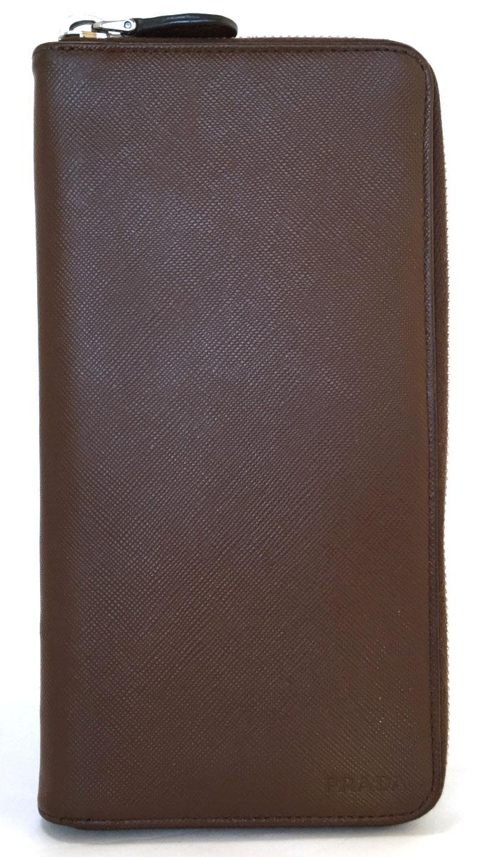 4f744aaa455a カード付プラダ長財布メンズラウンドファスナー財布ブラウンレザー2M1264PRADA本革型押し