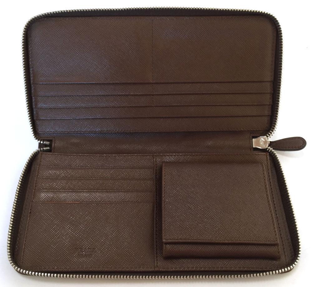 1dac0c9dcc16 promo code for the prada long wallet men round fastener wallet brown leather  2m1264 prada genuine