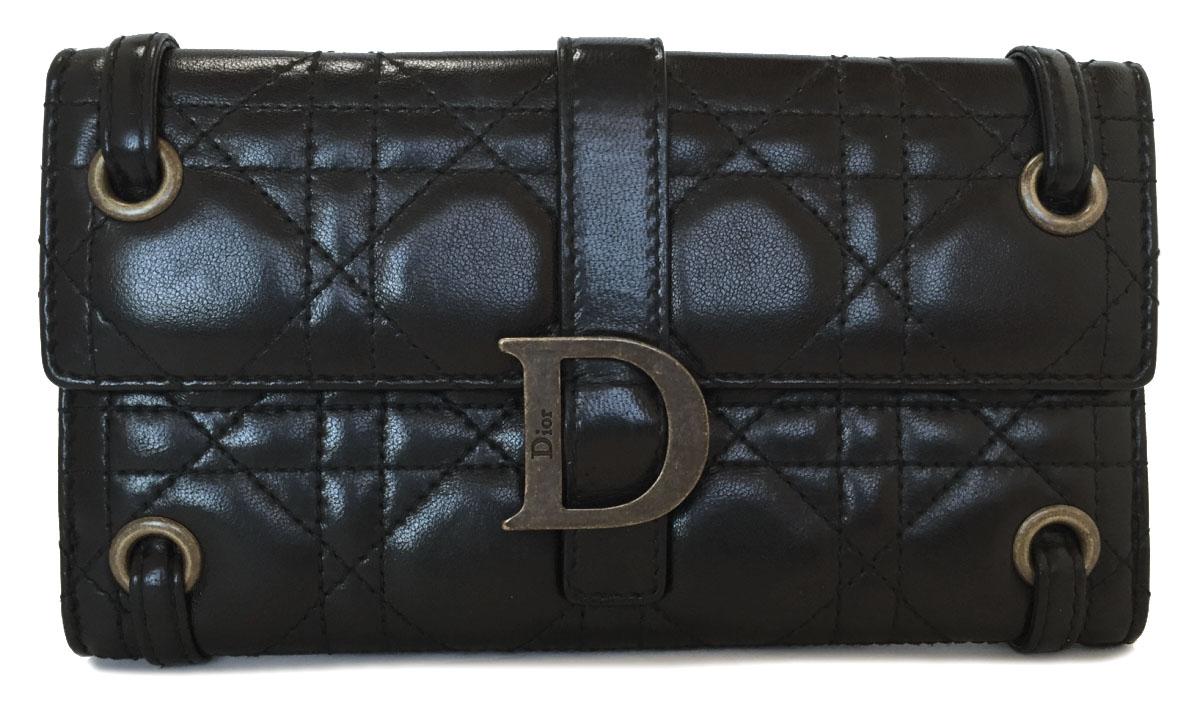 ディオール 長財布 ブラック 黒 レディディオール カナージュ レザー レディース Dior 良好 クリスチャンディオール ラムスキン 財布 Wホック 【中古】