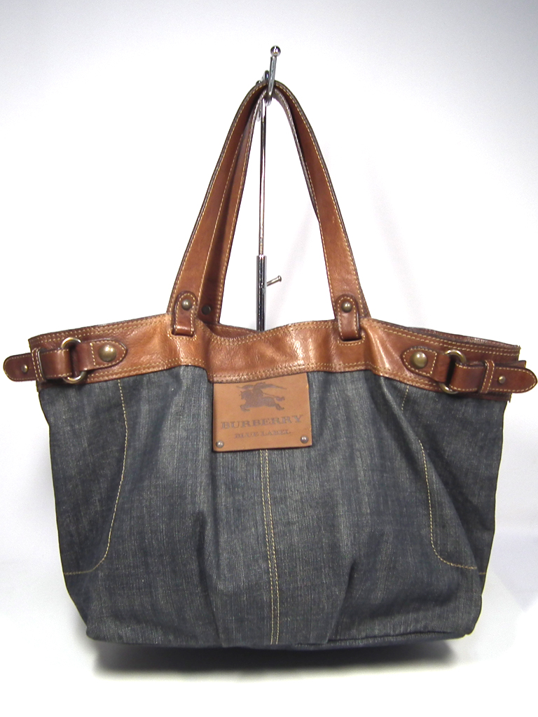 6f7c7e8bed Burberry blue label tote bag denim shoulder bag BURBERRY BLUE LABEL Lady s  leather woman business