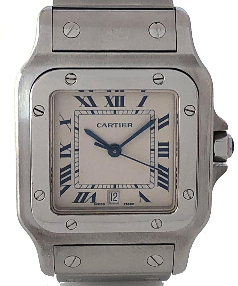 カルティエ サントスガルベ LM 時計 メンズ ウォッチ W20060D6 ステンレス SSブレス クォーツ 観音開き Cartier 白文字盤 LARGE 腕時計 メンズウォッチ 【中古】