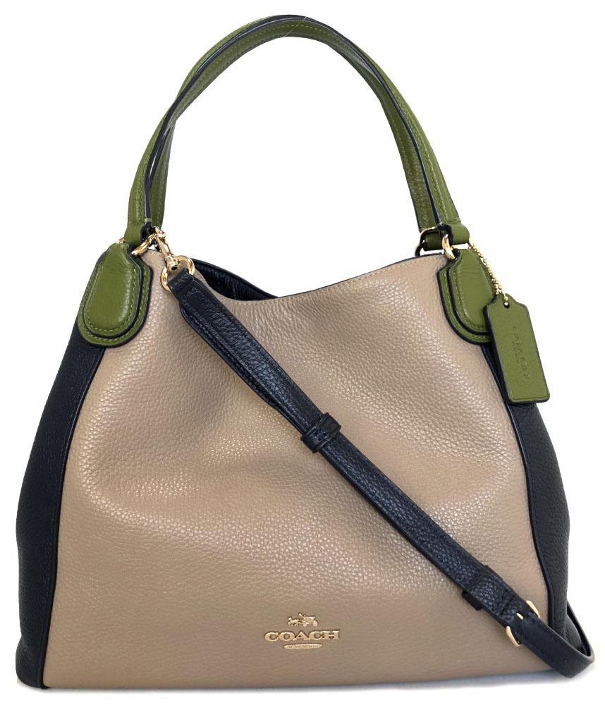 ... uk coach 2way shoulder bag handbag tote bag leather 3 color beige navy  ladys coach green 73f880b86de30