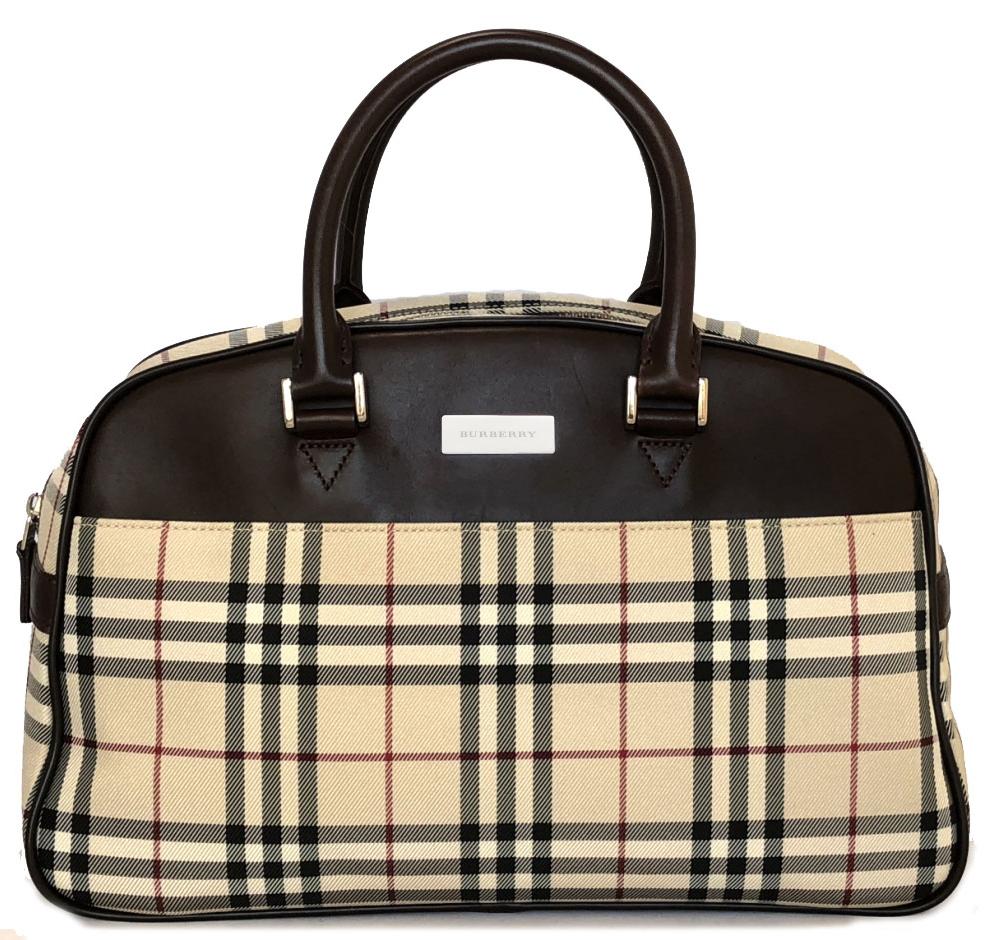 Burberry handbag mini-Boston bag check BURBERRY Lady s Novacek beige mini-Boston  beauty product check 9ea81abf983d0