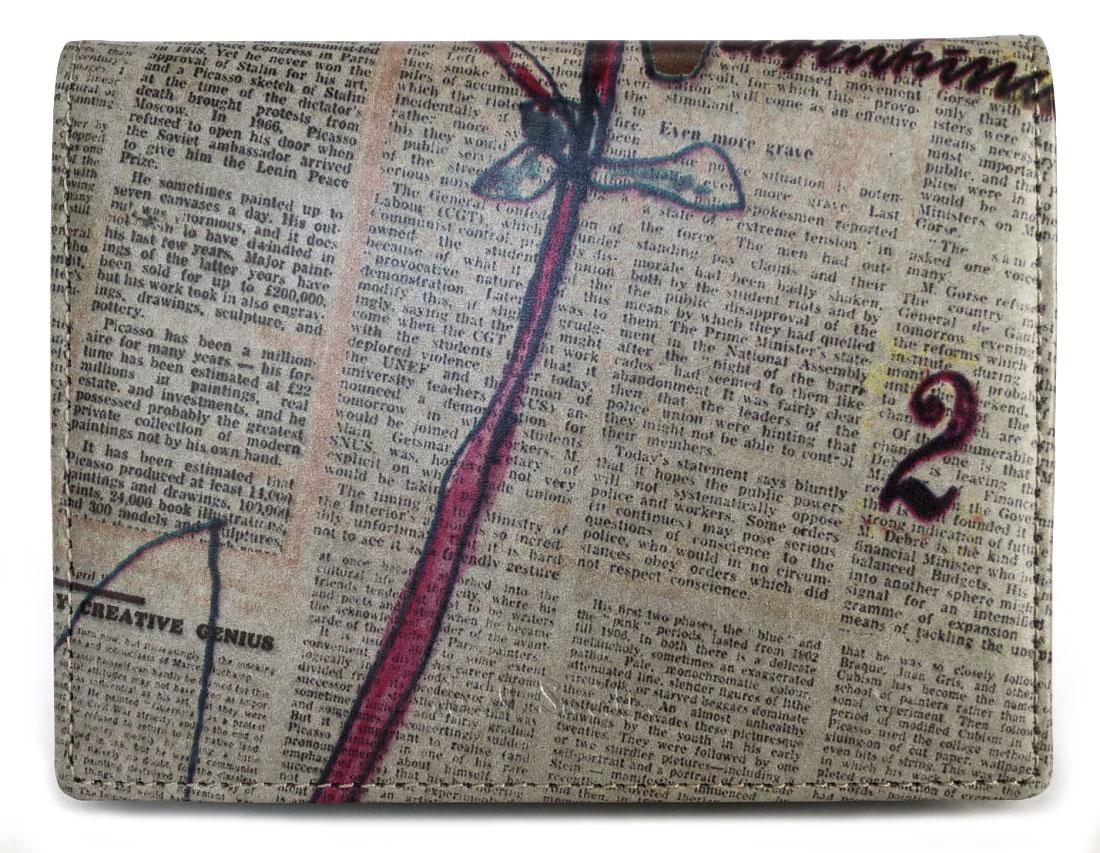 未使用 ポールスミス 三つ折り 財布 プリント 新聞デザイン 英字新聞 ニュースペーパー メンズ レディース PaulSmith 二つ折り財布 レザー 【中古】