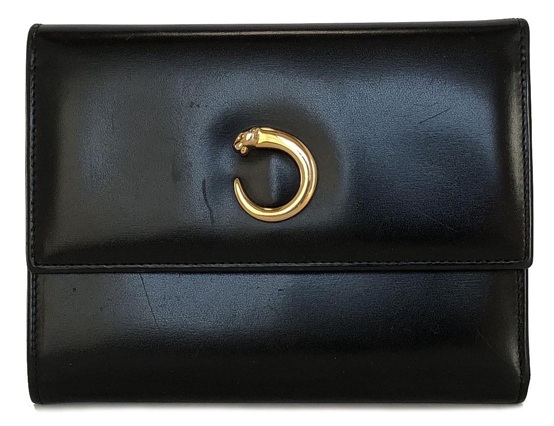 カルティエ 三つ折り 財布 パンテール パンサー レディース ブラック 黒 本革 レザー Cartier CARTIER 二つ折り財布 【中古】