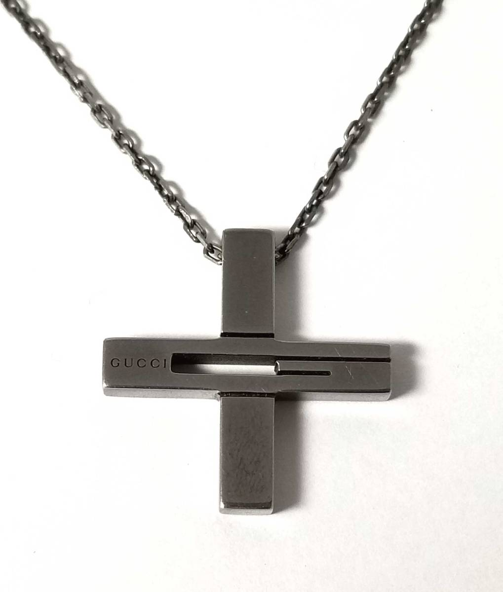 31231366b Gucci necklace cross pendant cross SV925 cross silver cutout G cancer meta men  GUCCI ...