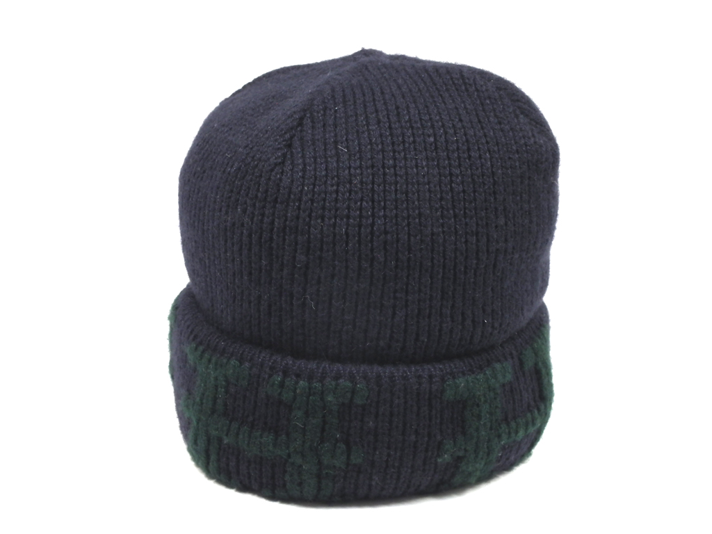 5930eefc Like-new Hermes hat knit hat knit cap LA navy green cashmere knit hat H ...