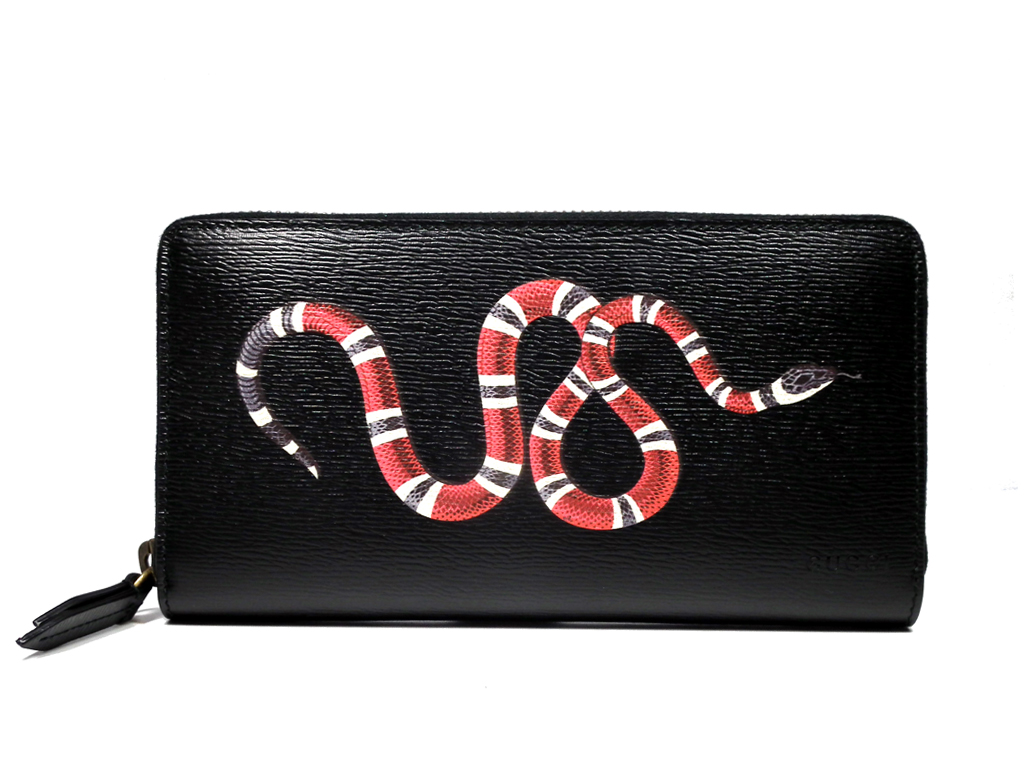 d5e5f0f7f0c Approximately new Gucci round fastener long wallet black black leather  wallet snake print leather snake zip around wallet 451273 GUCCI men