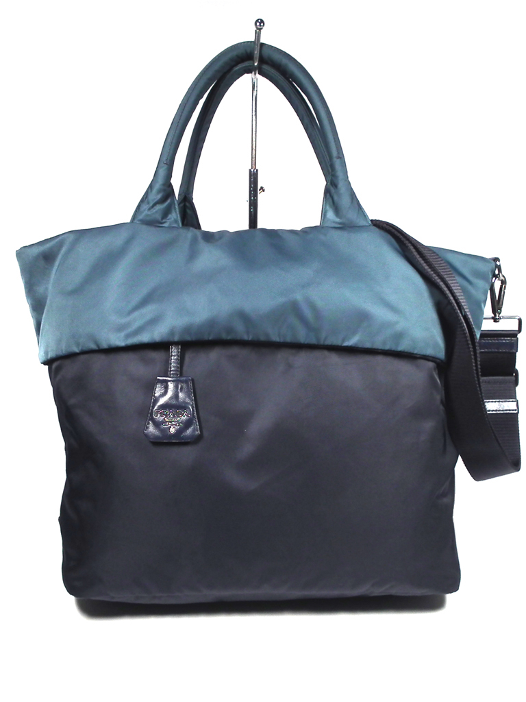 0f04e9bce13b Prada 2WAY reversible tote bag shoulder bag navy dark blue blue nylon PRADA  Lady s BN1959