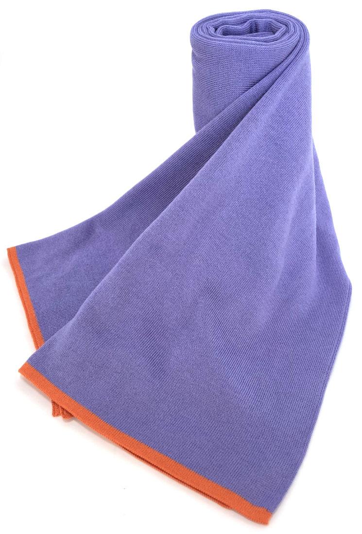エルメス シルク マフラー ストール シルク100% ライトパープル メンズ レディース 美品 HERMES 男女兼用 薄紫 オレンジ 【中古】