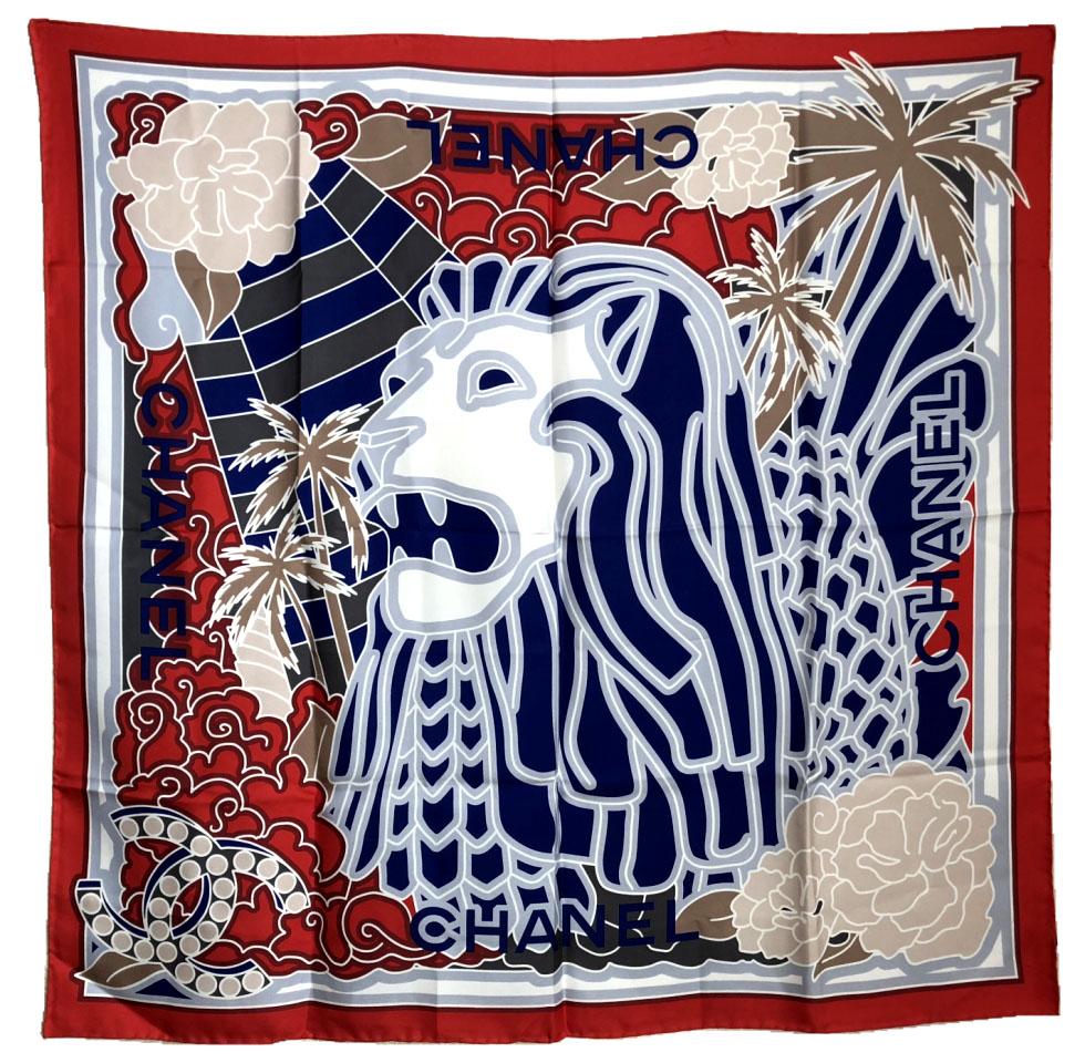 シャネル スカーフ マーライオン レッド ブルー シルク 赤 ライオン シンガポール シルク100% 美品 CHANEL シルクスカーフ 【中古】
