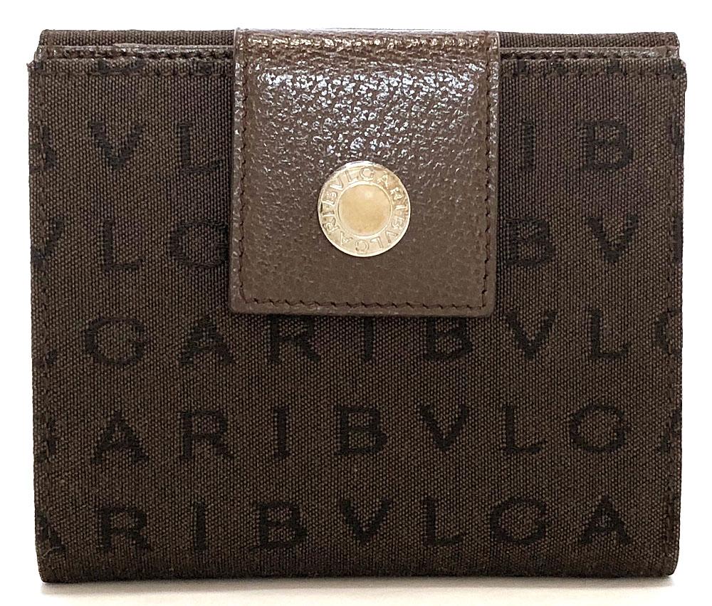 ブルガリ 二つ折り 財布 ロゴマニア ブラウン 茶色 メンズ レディース Wホック BVLGARI 男女兼用 キャンバス ロゴ 美品 Wホック 【中古】