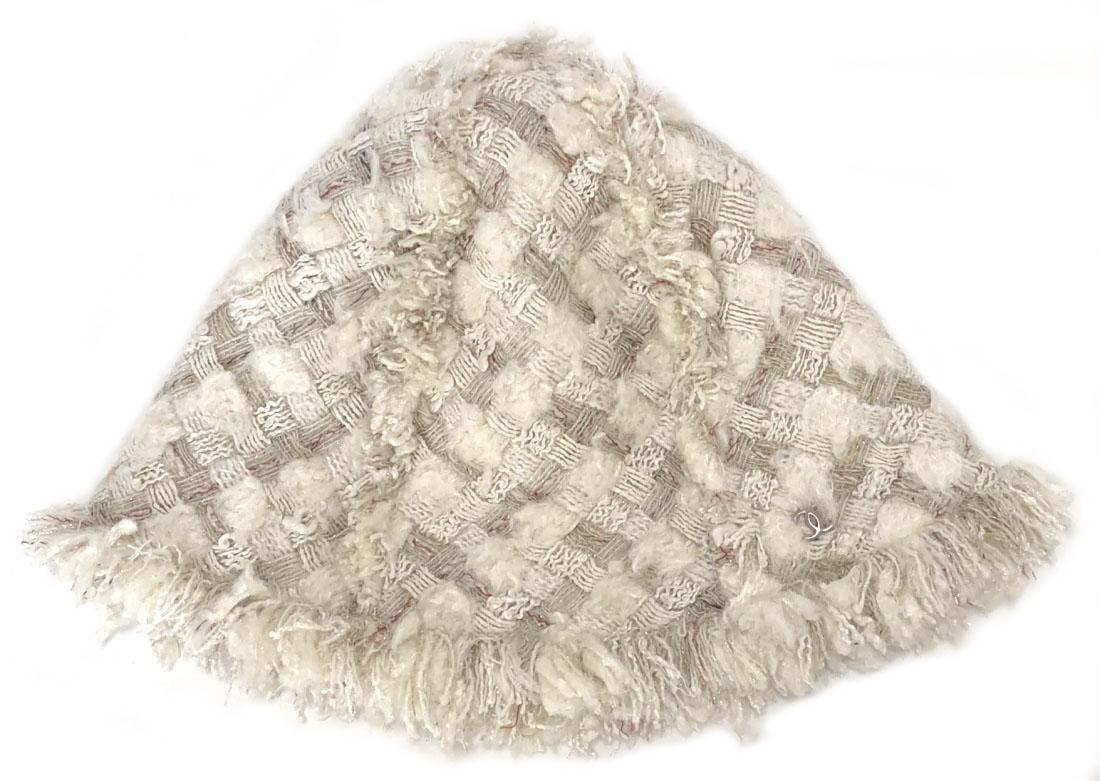 シャネル 帽子 ハット ホワイト オフホワイト ココマーク ツイード レディース CHANEL ツィード 【中古】