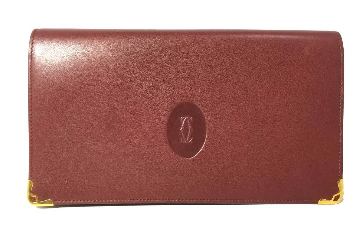 カルティエ 長財布 マスト がま口 財布 2C ボルドー C2 レディース メンズ Cartier 【中古】