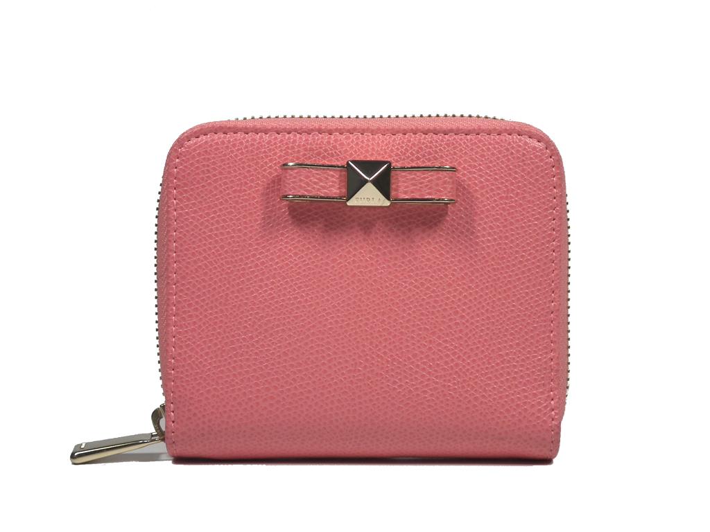 FURLA フルラ ラウンドファスナー 財布 コンパクト 型押し レザー リボン ピンク レディース ジップアラウンド 【中古】