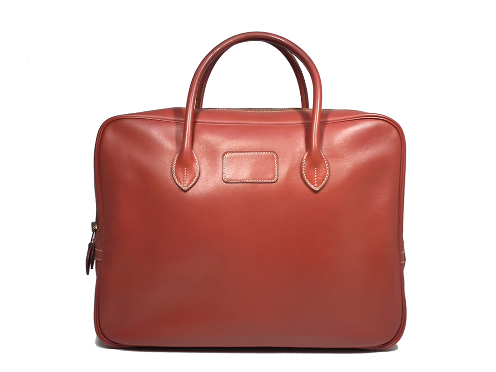エルメス ビジネスバッグ ブリーフケース エッフェル 書類鞄 ルージュアッシュ ボックスカーフ HERMES 書類かばん レザー 【中古】