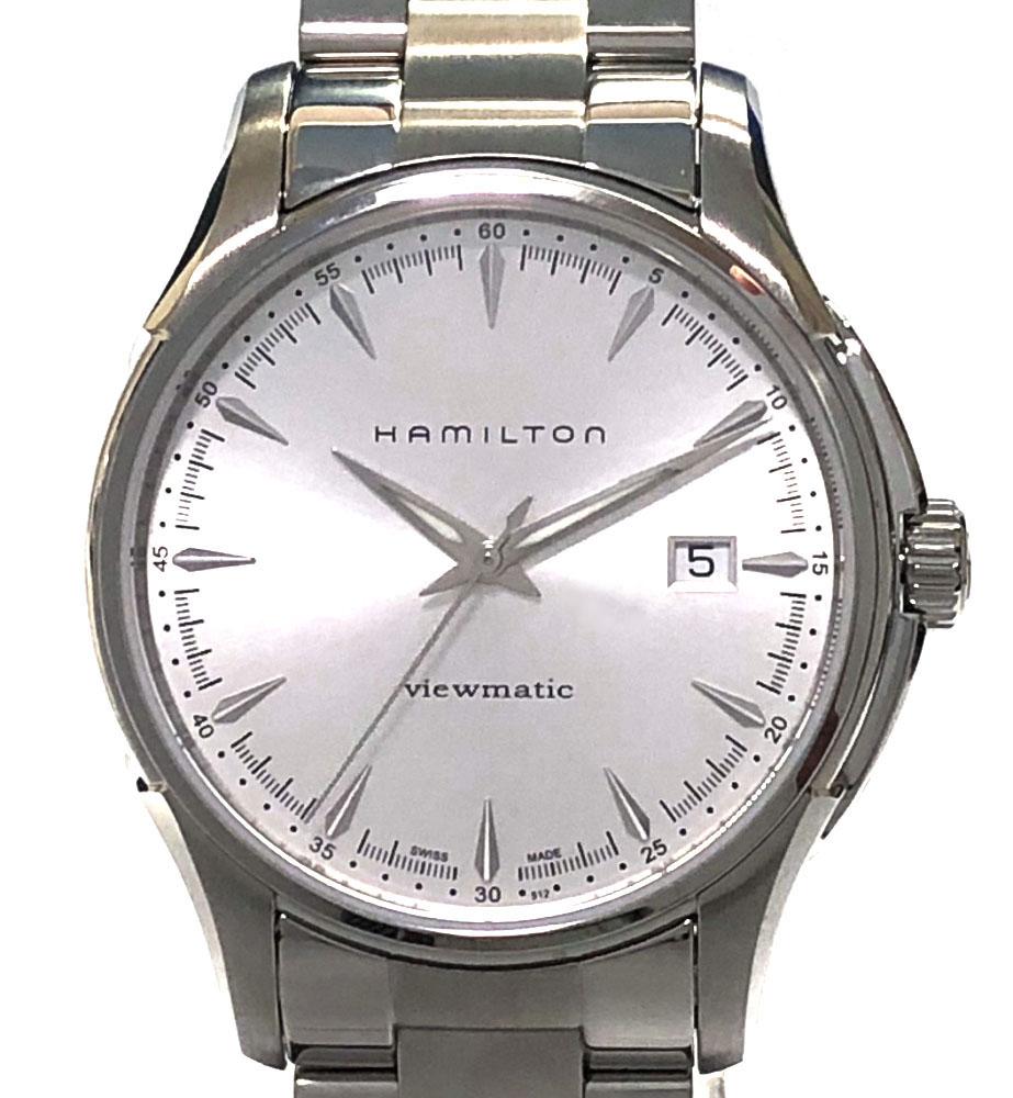 【値下げ】新品同様 ハミルトン 腕時計 ジャズマスター ビューマチック メンズ H326650 自動巻 AT HAMILTON シルバー文字盤 裏スケ シースルーバック メンズウォッチ 時計 【中古】