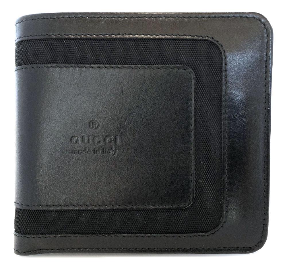 グッチ 財布 二つ折り メンズ ブラック 黒 コインケースあり レザー ロゴ 本革 二つ折り 財布 美品 GUCCI ナイロン 二つ折り財布 【中古】