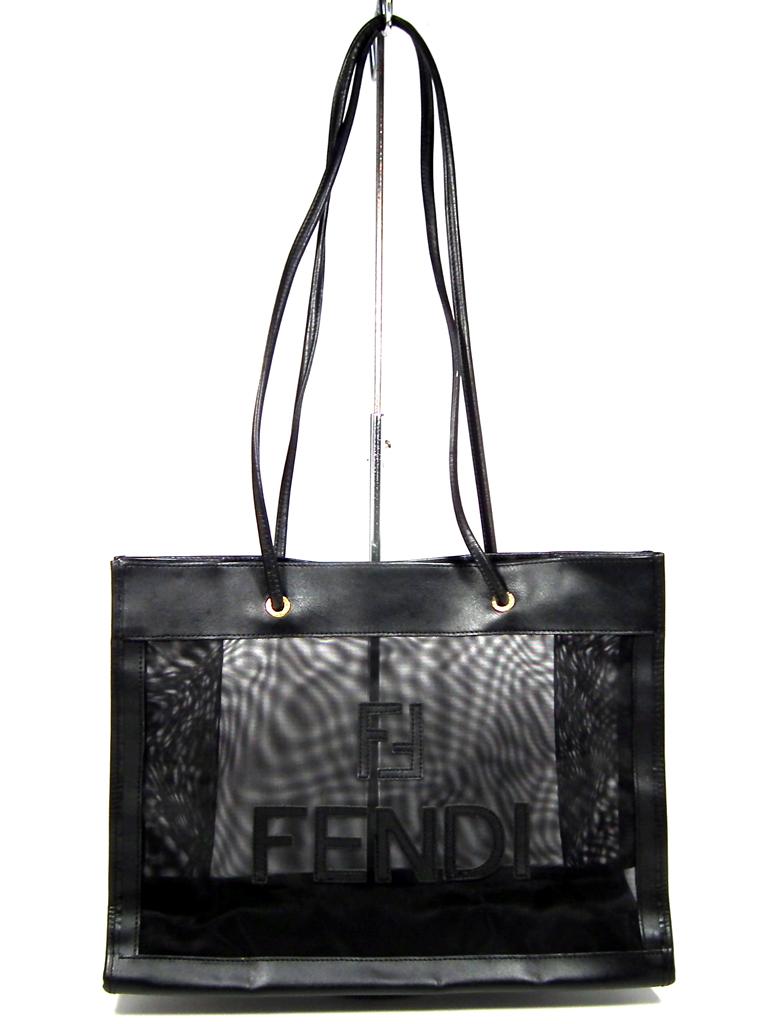 62c33501bb Good Fendi tote bag mesh Thoth shoulder bag logo Lady's FENDI black black  see-through