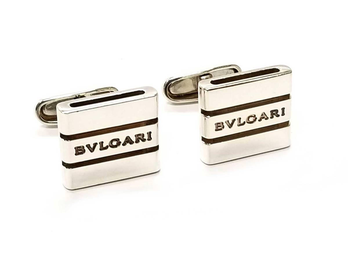 ブルガリ カフス カフリンクス カフスボタン シルバー SV925 スクエア メンズ ロゴ BVLGARI 【中古】