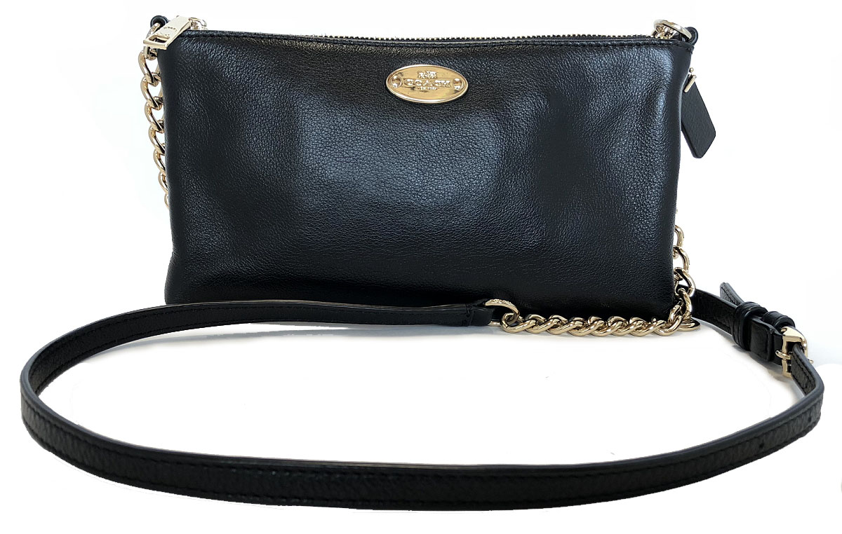 b50927e2fd1a Beautiful article coach shoulder bag chain black leather pochette Lady's chain  shoulder COACH shawl bag mini-shoulder black
