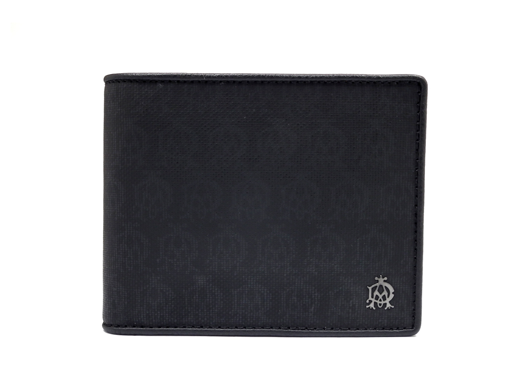 未使用 ダンヒル 財布 二つ折り ウインザー 総柄 ロゴ ブラック メンズ 黒 紳士 コインケース付 DUNHILL 【中古】