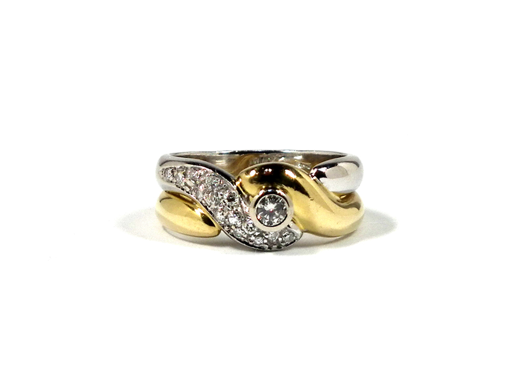 K18 ダイヤ リング 指輪 コンビ ノンブランド #13 コンビリング 750YG 750WG イエローゴールド ホワイトゴールド アクセサリー 【中古】
