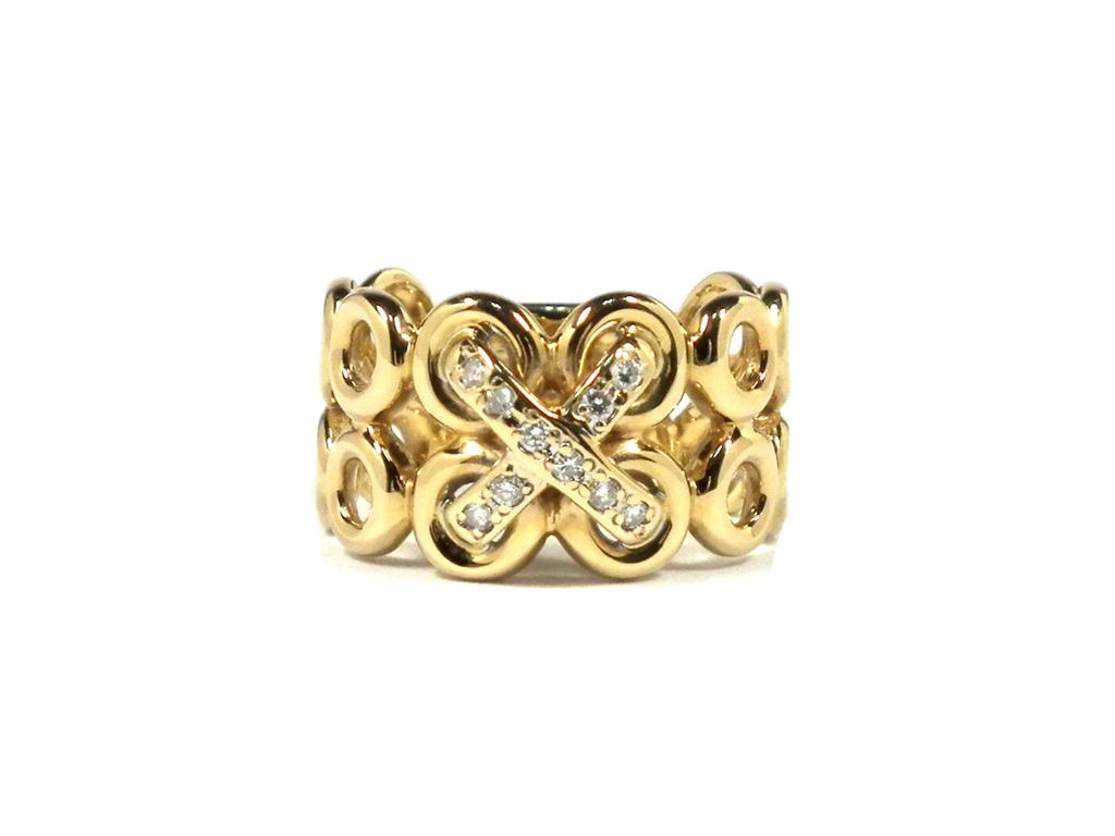 新品同様 K18 ダイヤリング 指輪 ダイヤモンド ノンブランド #11 ダイヤ 0.10ct クロス サークル ダイアリング アクセサリー リング 【中古】