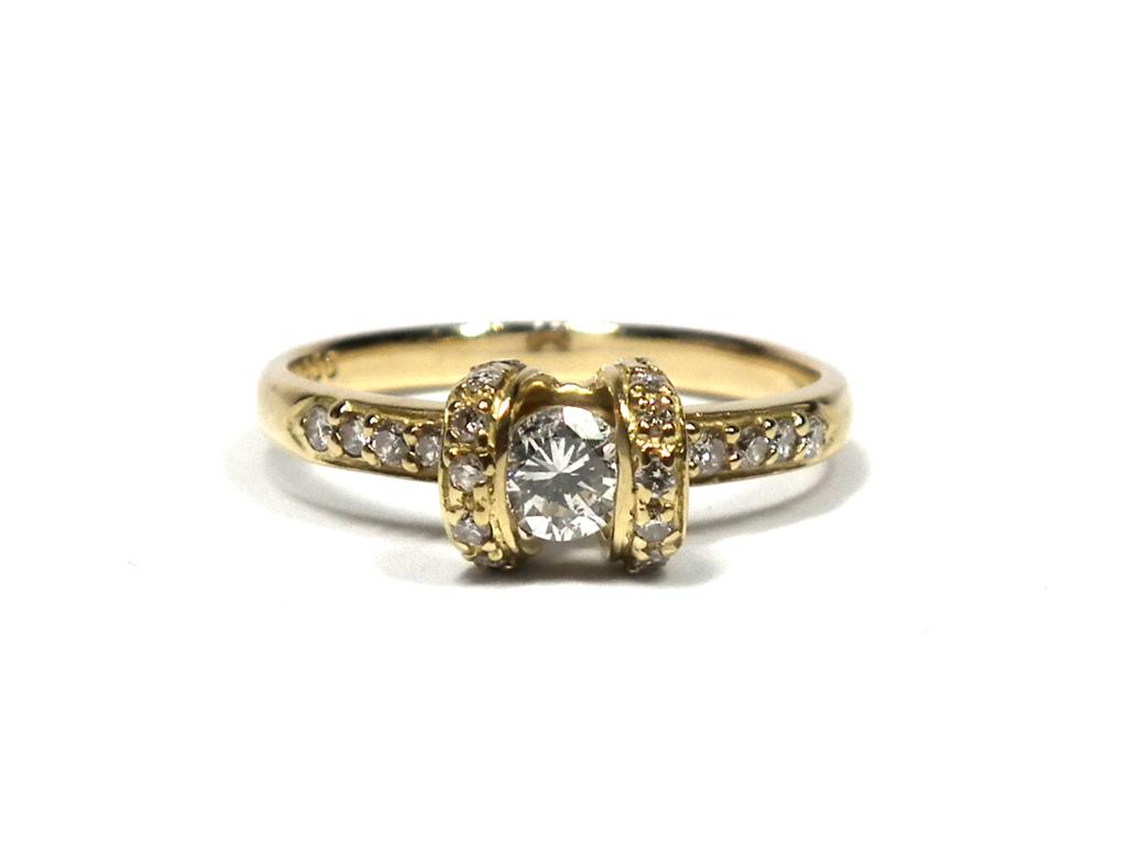 【値下げ】新品同様 ノンブランド K18 ダイヤリング 指輪 ダイヤモンド 0.50ct デザインリング ダイヤモンドリング 12号 ジュエリー イエローゴールド  【中古】