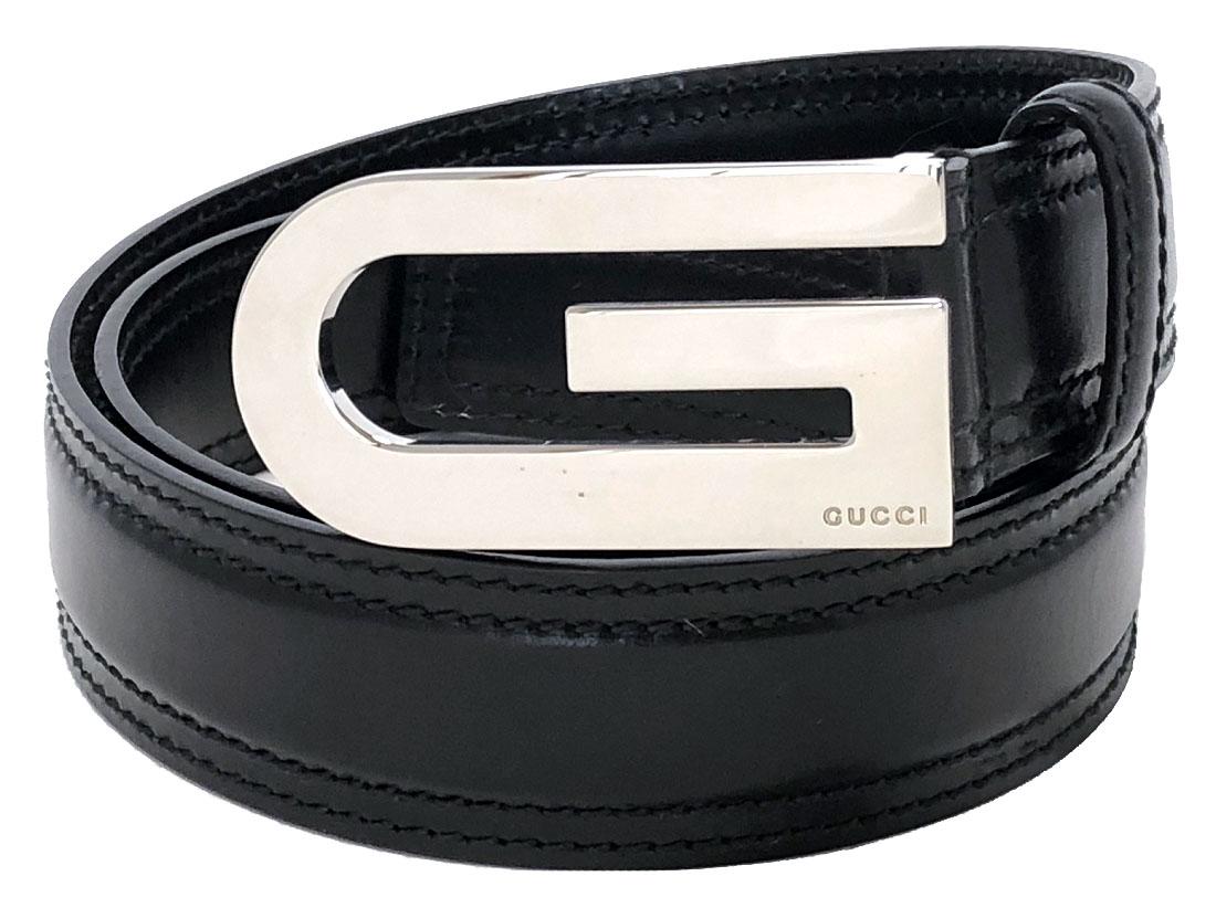 グッチ ベルト ブラック 90cm 黒 レザー 本革 メンズ Gマーク Gバックル GUCCI 紳士用 ビジネス シルバーバックル 138590 【中古】