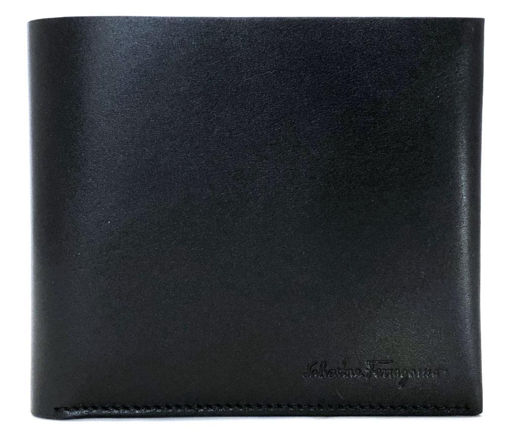 未使用 フェラガモ 財布 札入 二つ折り レザー ブラック 黒 メンズ 紳士用 1枚革 Salvatore Ferragamo カーフ ロゴ 二つ折り財布 二つ折り札入れ 【中古】