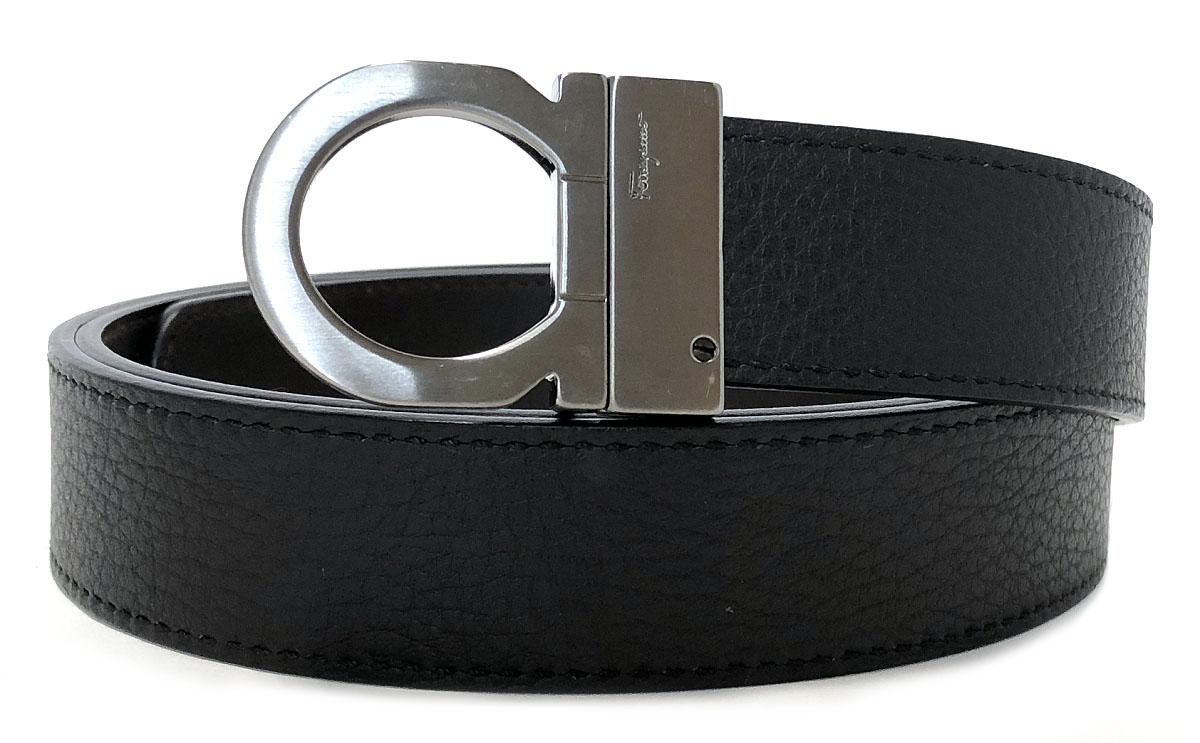 良好 フェラガモ ベルト メンズ 120cm ブラック 黒 リバーシブル ガンチーニ 紳士 FERRAGAMO ダークブラウン ロゴ 【中古】