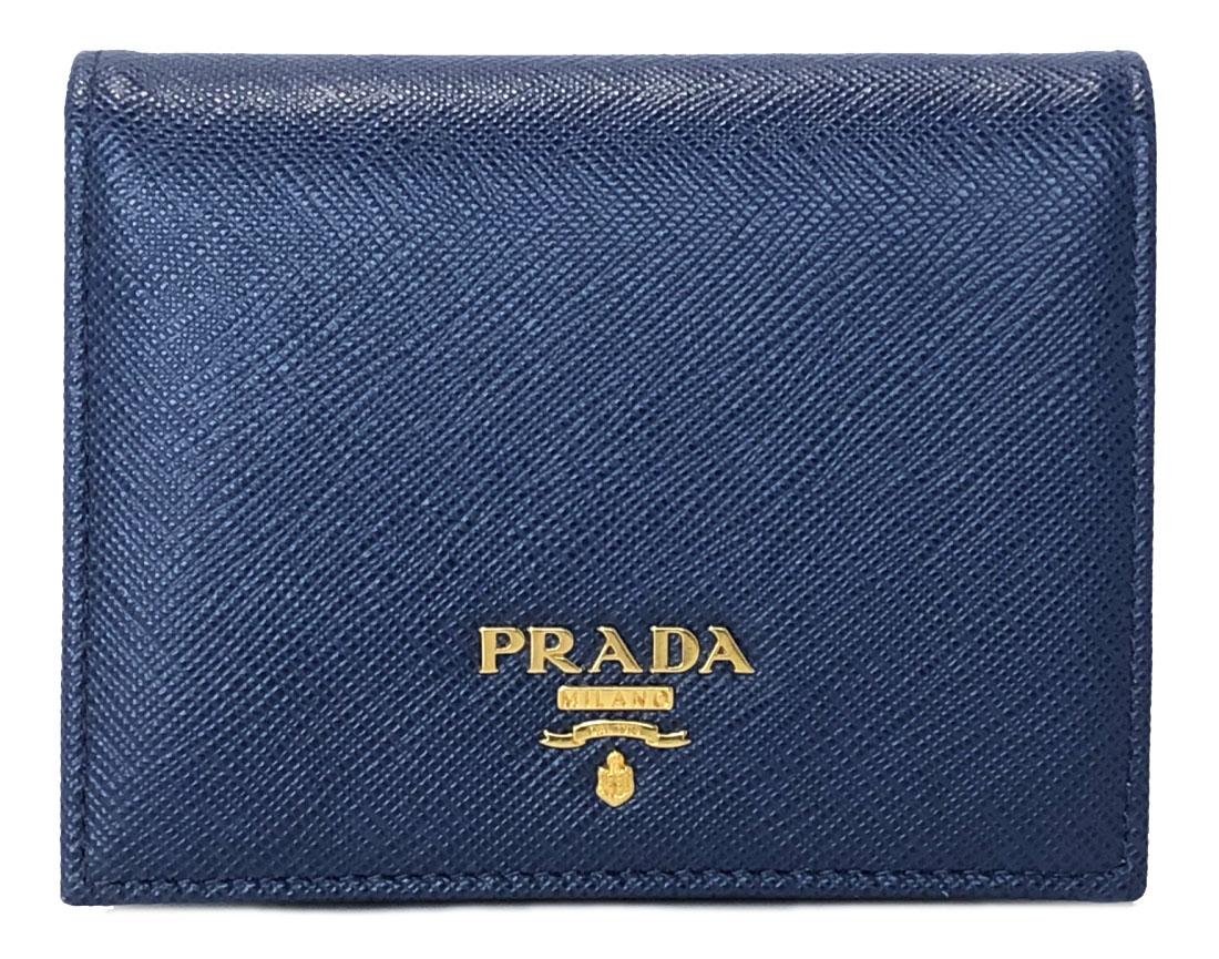 新品同様 プラダ 財布 サフィアーノ 型押し レザー 1MV204 ブルー 小銭入れ付 BLUETTE レディース 女性用 PRADA ロゴ 二つ折り財布 コンパクト 【中古】
