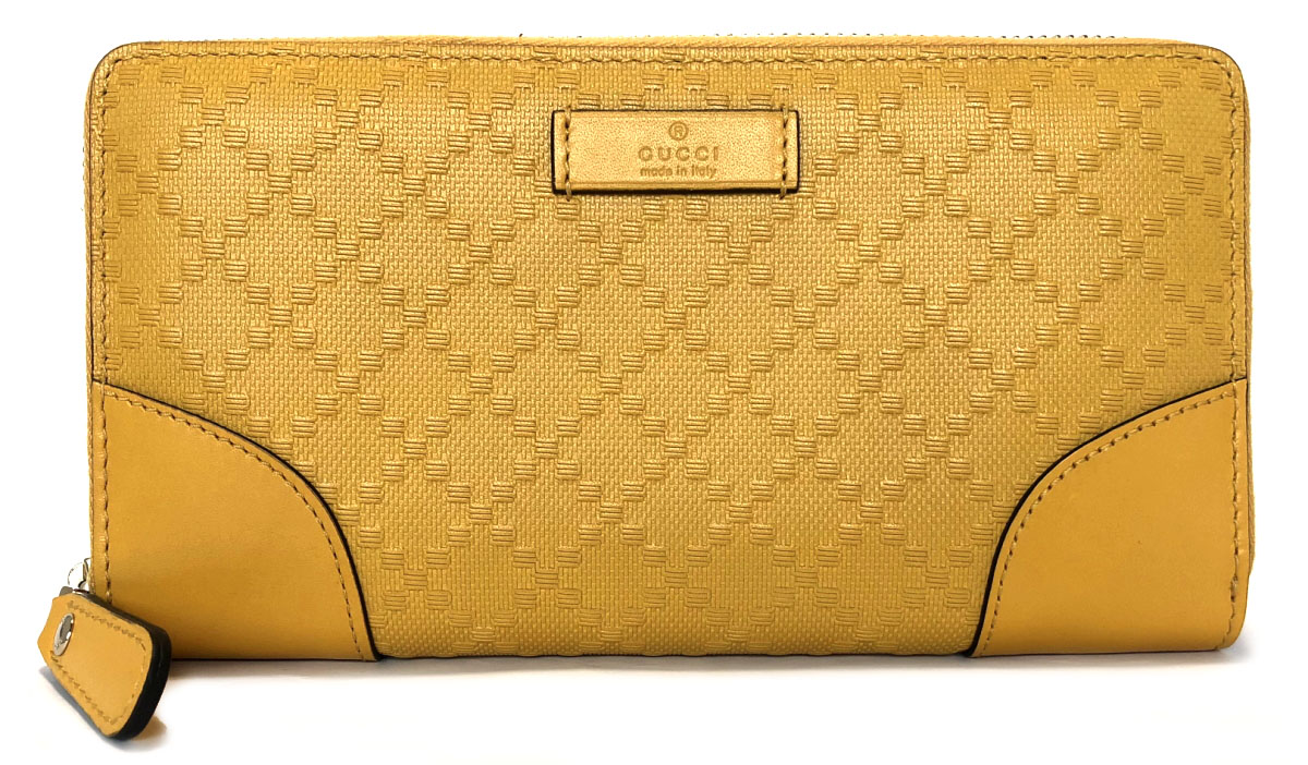 f14f8a309 Unused Gucci wallet Diamante round fastener long wallet 354487 yellow zip  around yellow man and woman ...