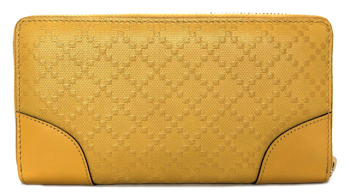 59954986f ... Unused Gucci wallet Diamante round fastener long wallet 354487 yellow  zip around yellow man and woman ...