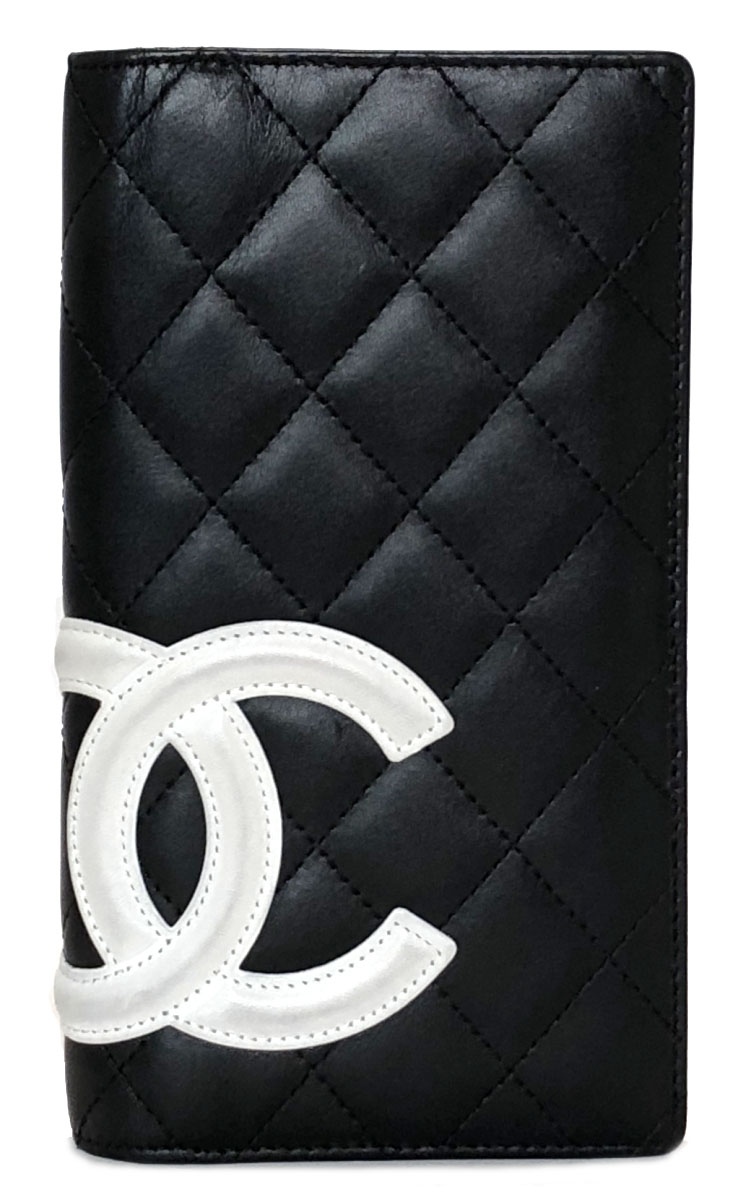 3bbcf69ed330a2 Chanel Cambon line long wallet leather black black here mark A26717 white  pink lady CC mark ...