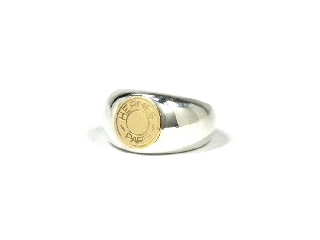 新品仕上げ済み エルメス セリエ コンビ リング K18 SV925 指輪 #51 シルバー メンズ レディース HERMES 【中古】