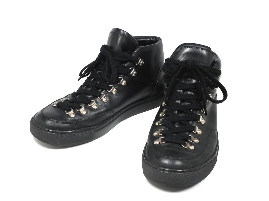 ジバンシィ 靴 レザー スニーカー ハイカット レザーシューズ ブラック 黒 #41 GIVENCHY 25.5CM メンズ ジバンシー 【中古】