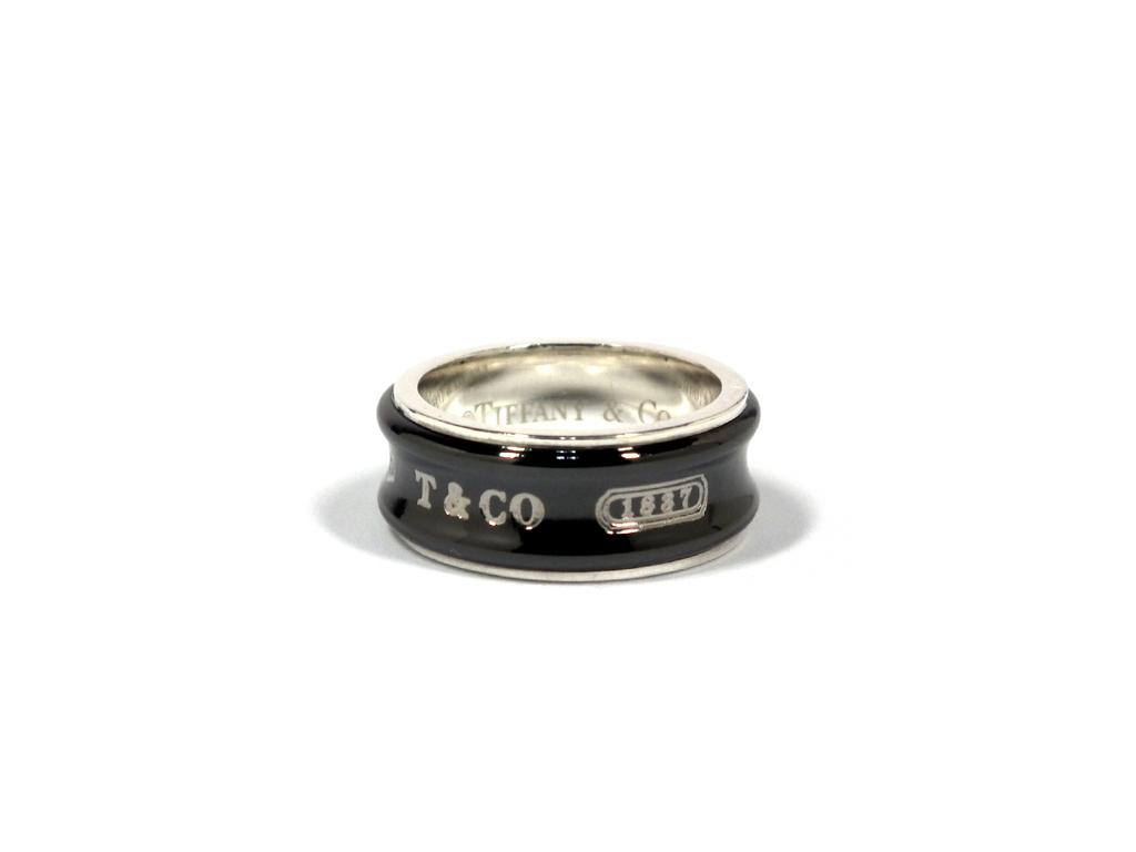 新品同様 ティファニー リング チタン シルバー 1837 12.5号 925 TI 指輪 ブラック 黒 T&CO TIFFANY レディース  【中古】