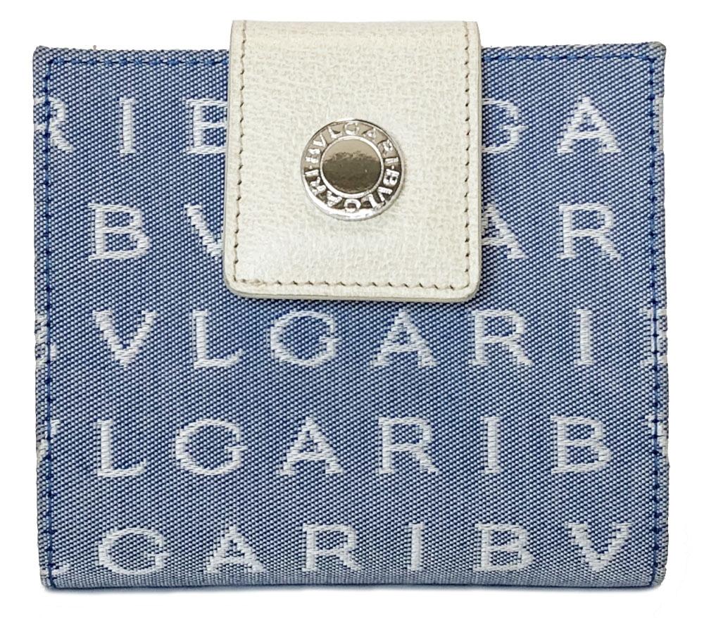 ブルガリ 二つ折り 財布 ロゴマニア 水色 レディース BVLGARI キャンバス ロゴ 美品 二つ折り財布 ブルー 【中古】